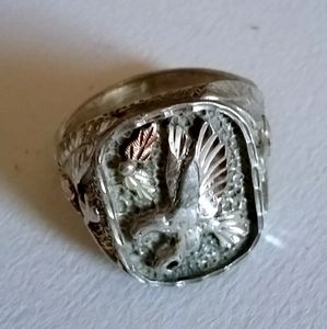Silver Tone Ring Eagle Design Unique Size 13